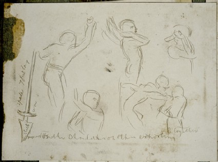 Studies of Figures and a Spade for 'The Miracle of Sacred Fire in the Church of the Sepulchre, Jerusalem'