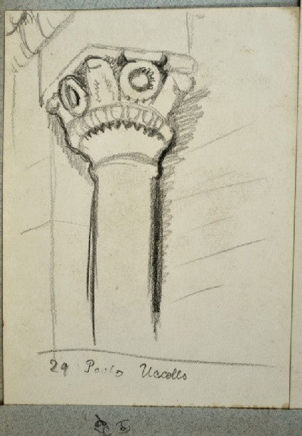 Recto: Study of a Pillar from a Painting<br />Verso: Notes on Paintings in the Uffizi Gallery