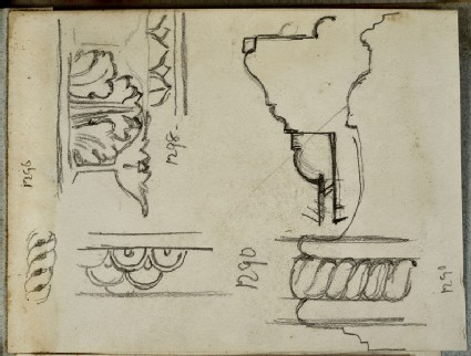 Recto: Studies of Frames in an Art Gallery<br />Verso: Three Studies of a Man in a Shovel Hat