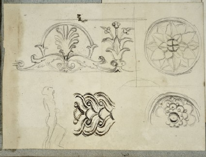 Recto: Studies of Details of Frame Mouldings, and of a male Nude<br />Verso: Study of a reclining female Figure