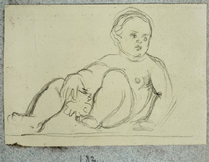 Sketch of a reclining Baby holding a Fig Leaf