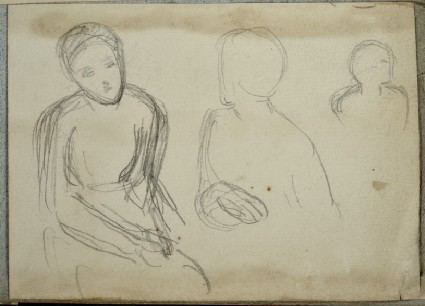 Three Figures: Woman seated on left