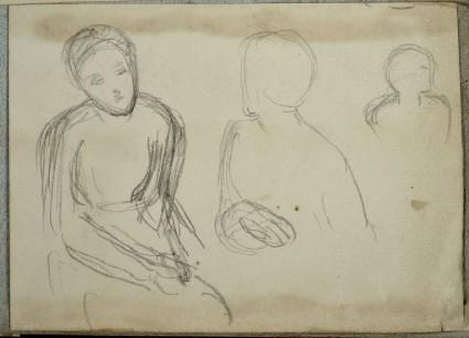 Three Figures: Woman seated on left