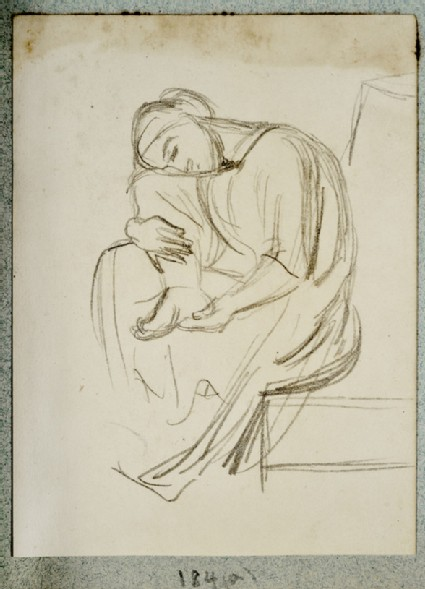 Study of a draped Woman examining her Foot