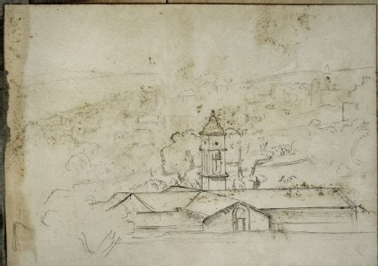 Landscape with a low Building with Bell Tower