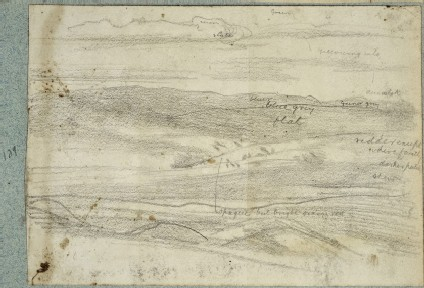 Recto: Study of Mountains and Sky Verso: Studies of a Male Figure