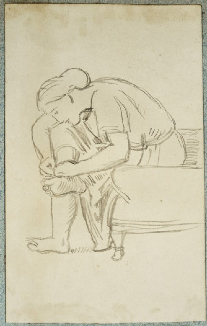 Study of a seated Woman examining her Foot