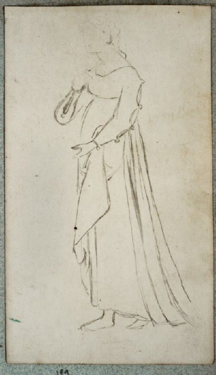 Recto: Costume Study of a Woman wearing a Medieval Gown Verso: Study of a Soldier's Costume