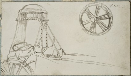 Two pages from a sketchbook, with studies of an Arab carriage and wheel, a crown and costumes