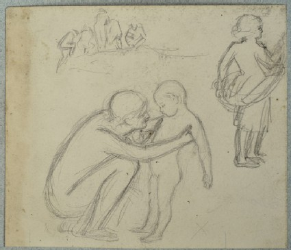 Recto: Figure Studies of five People on a Bank, a crouching Man holding a Child, and a Girl holding a Shawl 