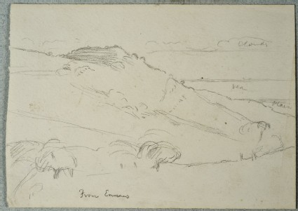Recto: View from Emmaus<br />Verso: Study of a Child's Hand for 'The Triumph of the Innocents'