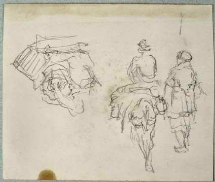 Studies of a Man sitting on a Donkey and another Man standing, seen from the rear