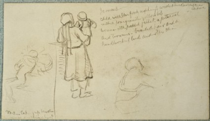 Studies of an Eastern Woman holding a Child and of a Man lifting a heavy Load