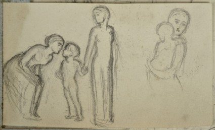 Recto: Figure Studies of two Women and a Child and a Woman holding a Child