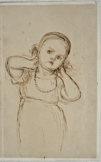 Study of Gladys Holman Hunt trying on a Necklace