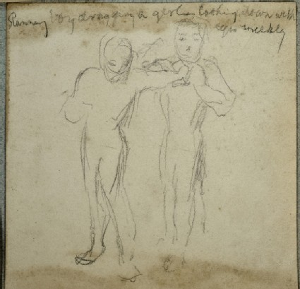 Study of two Figures, One reaching to grab the Other