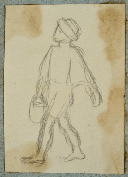 Child wearing a Turban and carrying a Bucket