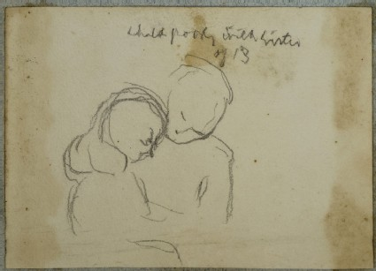 Bust-length Studies of a Child comforting her Sister