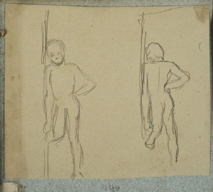 Naked Child by a Door, front and back view