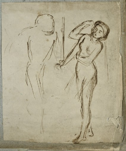 Female Nude knocking on a Door, a Man opening it