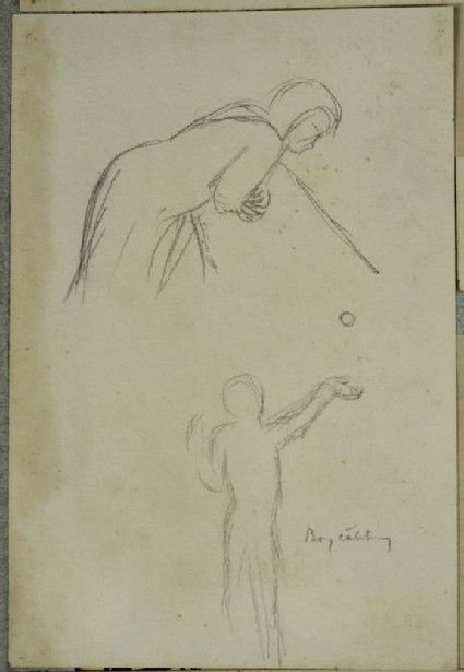 Recto: Woman bending over a Parapet