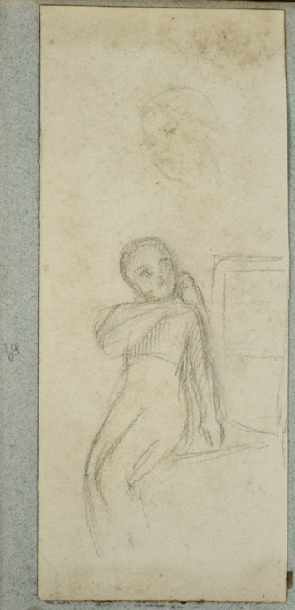 Girl seated, a Dove on her Shoulder