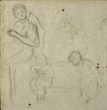 Study of Children in an Interior, including a Girl plaiting Straw with a Dove on her Shoulder