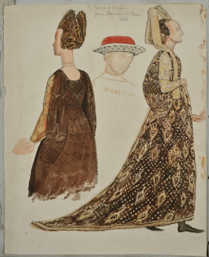 Costume Studies from the Adimari Cassone in the Accademia, Florence