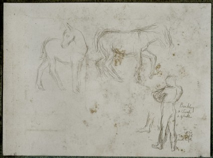 Two Mules and a standing Figure