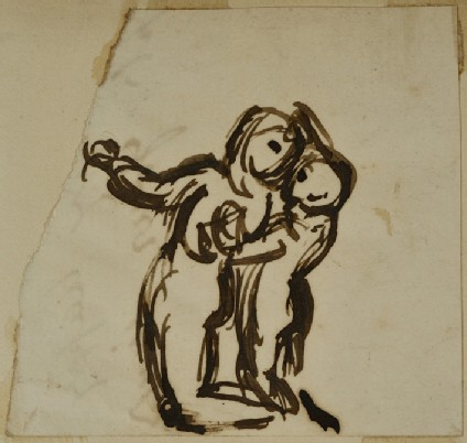 Study of a Woman kneeling and a Child standing