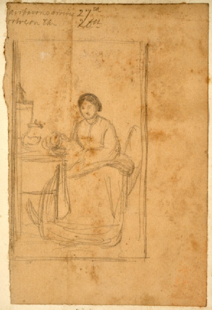 Study of Mrs Fairbairn seated, for 'The Children's Holiday'