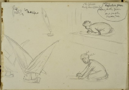 Studies of Sailing Boats and two crouching Figures