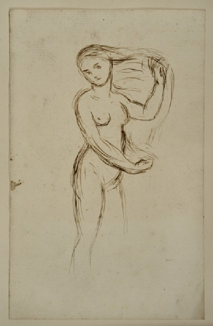 Study of a female Nude with Hair outstretched