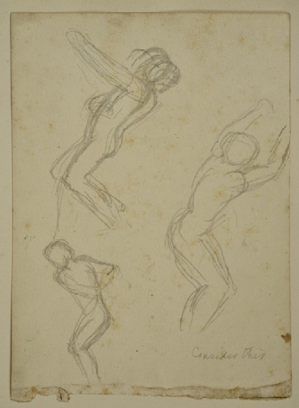 Three Studies of a nude Figure in movement