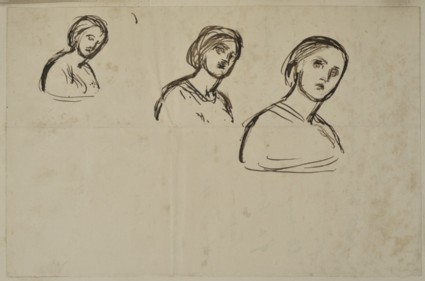 Recto: Three Studies of Edith Holman Hunt