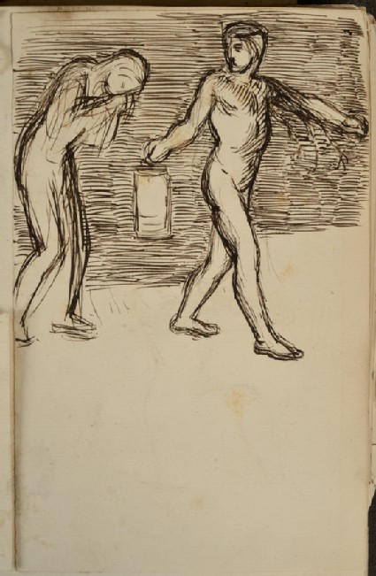 Compositional Study of a Man holding a Lantern and guiding a Figure