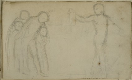 Study of a nude Male holding a Lantern guiding other Figures