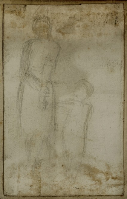 Man in Eastern Dress holding a Child by the Hand