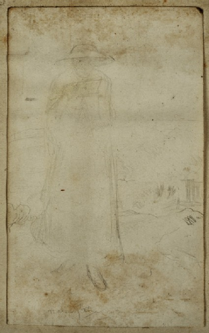 Study of a Woman wearing a broad-brimmed Hat, standing in a Landscape