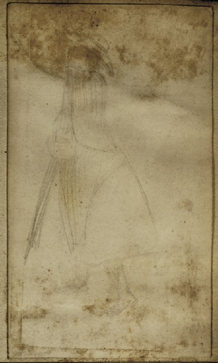 Study of a Woman wearing a broad-brimmed Hat carrying a Basket