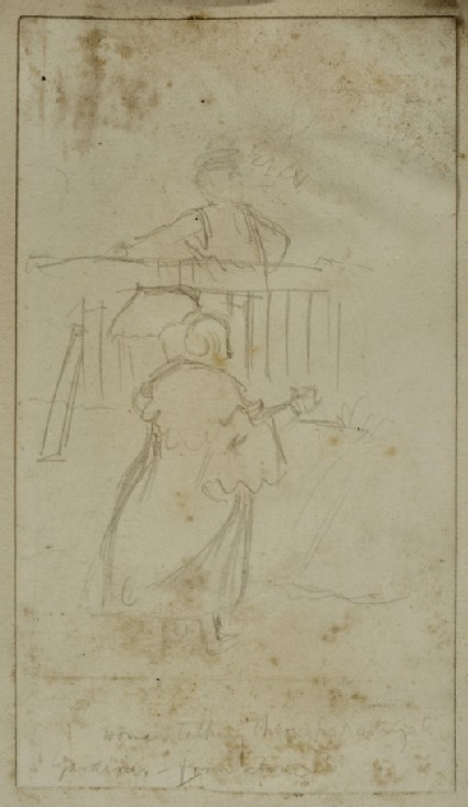 Study of a Woman talking through Palings to a Gardener