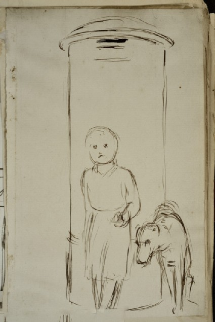 Study of a Child and a Dog standing in front of a Pillar-box
