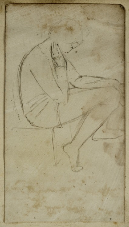Recto: Study of a seated Youth in profile