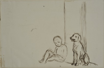 Study of a Child and a Dog sitting in front of a Pillar-box