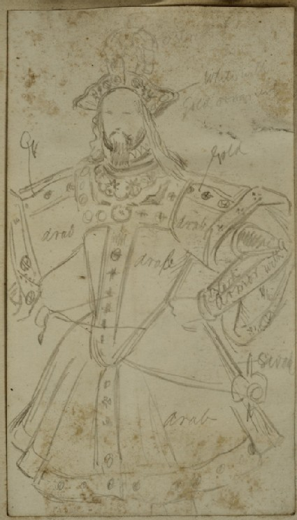 Recto: Costume Study of a princely oriental Figure
