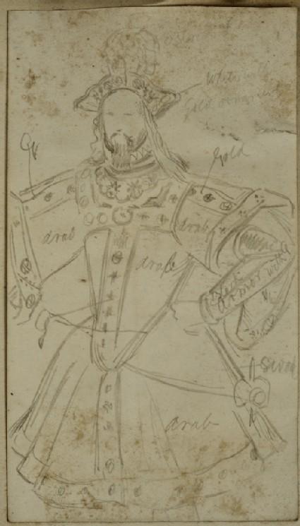 Recto: Costume Study of a princely oriental Figure Vesro: Slight Costume Study