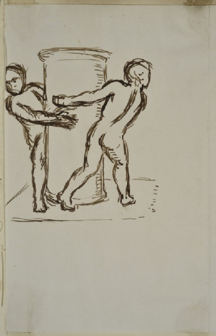 Studies of two naked Children playing round a Pillar