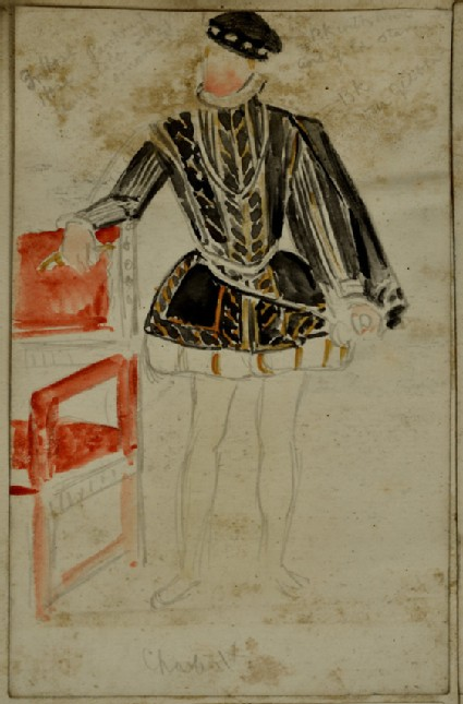Recto: Costume Study of Charles IX of France, with colour notes Verso: Slight Study of a Bird in Flight