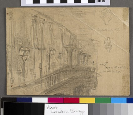 Recto: Study of London Bridge for 'London Bridge on the Night of the Marriage of the Prince and Princess of Wales' <br />Verso: Studies of the columns of a four-poster bed