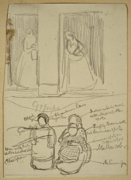 Studies of two Women standing gossiping, and of two Women seated